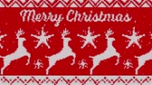 maglieria : Animation of the words Merry Christmas against christmas jumper background in red