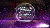 houten letters : Animation of the words Happy Christmas written in blue in Christmas snow globe with shooting star in purple and snow falling with wooden boards in the background