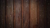 設計要素 : Animation of winter snowflakes falling and wooden boards in the background 動画素材