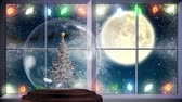 ren geyiği : Animation of winter scenery seen through window with a black silhouette of Santa Claus in sleigh being pulled by reindeers, full moon, snow globe with Christmas tree inside, fairy lights and snowflakes falling in countryside Stok Video