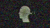 doolhof : Animation of human head with green outlined labyrinth flickering on grainy background