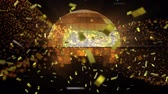 cópia espaço : Animation of spinning glowing disco ball with floating warm lights and golden confetti falling in the foreground