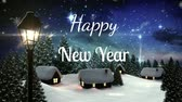 kerst huis : Animation of the words Happy New Year written in white letters with snowflakes falling at night in countrsyide
