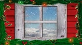 素朴な : Animation of winter scenery seen through window with snowflakes falling in countryside and Christmas decorations with holly and fairy lights in the foreground 動画素材