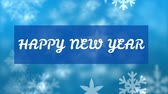 happy new year : Animation of the words Happy New Year written in white letters on blue rectangle with snowflakes on blue background