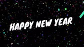 メッセージ : Animation of the words Happy New Year written in white letters with colourful confetti falling in the background