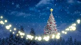 祝う : Animation of winter scenery with glowing string of Christmas fairy lights, Christmas tree, fir trees and snow falling in the background