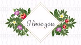 seni seviyorum : Animation of the words I Love You written in black in pink frame with flowers on white patterned background Stok Video