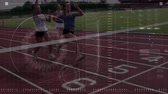 ligne d arrivÉ : Animation of data processing, scope scanning and analytics with three female athletes crossing the finish line on a running track in slow motion in the background Vidéos Libres De Droits