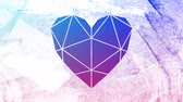 visto : Animation of a vibrant blue and purple background seen through a white heart shaped window in the foreground Vídeos