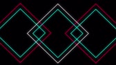 アウトライン : Cool 80s style retro design Animation of flickering neon outlines of diamond geometric shapes in pink, white and green moving on black background