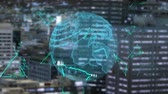 banco de dados : Global Business Technology Finance Concept Animation of data processing and globe spinning with green outlined triangles and cityscape in the background Stock Footage