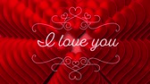 te amo : Animation of the words I Love You written in white letters with delicate white decoration, with red hearts appearing on red background. Celebrating Valentines Day. Archivo de Video
