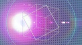 rainbow background : Animation of outlines of geometric shapes moving with rainbow coloured halo on flickering spots of light on mesh background. Seamless loop of digital motion. Stock Footage