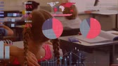 statistic : Animation of multi-ethnic group of schoolchildren sitting at their desks at school during lesson with graphs and statistics displaying in the foreground. Education finance growth concept. Stock Footage