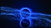 colorful backgrounds : Animation of spinning ring of blue sparks twinkling and glowing string of multiple blue particles scattering slowly in hypnotic motion on dark blue background. Magical shimmering light composition.