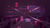 global : Animation of data processing and elements moving with out of focus modern office on pink background. Global business and finance concept.