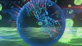 Animation of green macro corona virus spreading and floating blue glowing globe spinning and waves of information flying in the background. Global health warning scare spreading infections concept digital composite.