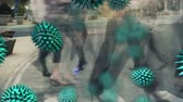 bactérias : Animation of green macro corona virus spreading and floating with people walking in a busy street in fast motion in the city in the background. Global health warning scare spreading infections concept digital composite.