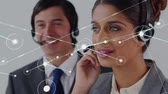 linha de apoio : Animation of network of connections with a mixed race businesswoman and Caucasian businessman wearing phone headsets in a busy office in the background. Global networking and connections concept digital composite.