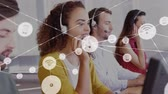 linha de apoio : Animation of network of connections with wifi reception and smartphone icons with a group of office workers wearing phone headsets in a busy office in the background. Global networking and connections concept digital composite. Vídeos