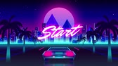 simulatie : Animation of vintage video game screen with the word Start written in pink glowing letters with back of sports car driving towards city and glowing pink moon on palm tree lined highway, Vintage video game concept.