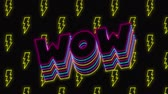 programowanie : Animation of vintage video game screen with the word Wow overlapping in magenta, cyan, yellow outlined capital letters bouncing with yellow flash shapes moving and a green circle appearing and disappearing on black background. Vintage video game concept. Wideo