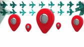 pim : Animation of five red and silver location pins bouncing over rows of green aeroplanes on white background. Global connections travel concept digitally generated image. Stok Video