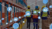 yelek : Animation of network of connections with location and statistics icons, digital data processing with busy warehouse workers in the background. Digital network of global connections networking business concept digital composite.