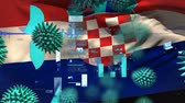 hırvat : Animation of multiple macro corona virus spreading with charts and statistics and Croatian national flag billowing in the background. Global health warning scare spreading infections concept digitally generated image.