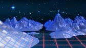 simulatie : Animation of digital landscape with mountains and pink grid moving in seamless loop and stars on night sky in the background. Video computer game screen and digital interface concept digitally generated image.