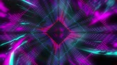 diamante : Animation of purple, blue and pink diamond shapes pulsating in seamless loop in hypnotic motion with glowing pattern on black background. Abstract colour and pattern motion in repetition concept digitally generated image.