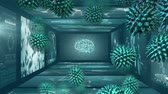 microbiologia : Animation of macro green coronavirus cells flowing and spreading over screens of medical scans with brain and DNA strands in the background. Medicine public health pandemic coronavirus outbreak concept digitally generated concept. Filmati Stock