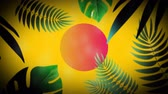 motif retro : Animation of flickering red and white circle with tropical green leaves on yellow background. Video game screen colour and pattern motion in repetition concept digitally generated image.