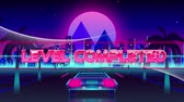 motif retro : Animation of the words Level Completed over pink and green triangles with back of a car driving on palm tree lined highway with cityscape and pink glowing moon in the background. Video computer game screen and digital interface concept digitally generated Vidéos Libres De Droits