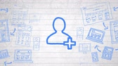 desenhado : Animation of blue outlined people icon hand drawn with a marker with multiple hand drawn icons on white lined paper. Global digital communication and social networking concept digital composite.