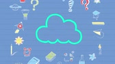 desenhado : Animation of blue outlined cloud icon hand drawn with a marker with multiple icons on blue background. Global digital communication and social networking concept digital composite.