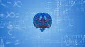 Animation of 3d blue metallic human brain rotating in seamless loop over scientific mathematical formulae hand written on blue background. Medicine neurology and global science concept digitally generated image. Coronavirus Covid19 testing Filmati Stock