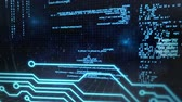 Animation of blue data scrolling and statistics recording with computer circuit board processing information on black background. Digital computer interface communication and connection concept digitally generated image. Stock Footage
