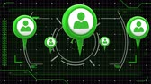 Animation of green people icons, scope scanning data processing and markers moving on grid on black background. Digital computer interface communication and connection concept digitally generated image. Stock Footage