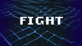 ekran : Animation of the word Fight written in white pixelated letters over glowing moving blue mesh in the background. Video computer game screen and digital interface concept digitally generated image.