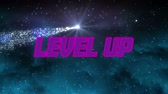 ekran : Animation of the words Level Up written in pink and purple letters over clouds on dark sky and shooting glowing star in the background. Video computer game screen and digital interface concept digitally generated image.