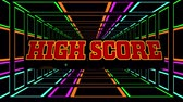 Animation of the words High Score written in red letters over tunnel of multi colored glowing square outlines moving in hypnotic motion on black background. Video computer game screen and digital interface concept digitally generated image. Filmati Stock