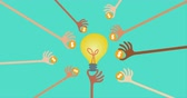 lend : Crowdfunding and financial concept with many hands holding money to give their support around the light bulb idea. Stock Footage
