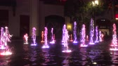las vegas strip : 4K ES: Dancing water fountain display with colored LED lights at The Linq Las Vegas. Circa 2016 Stock Footage