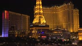 triunfar : 4K ES: The Eiffel Tower, Arch de Triumph, and Montgolfier balloon at The Paris Hotel and Casino on the Las Vegas Strip. Circa 2016 Filmed on Sony FS-5 w 28mm Zeiss prime lens at 4K UHD 30P Native Resolutions.