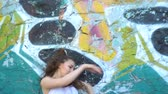 grafiti : The girl is dancing against the bright wall background