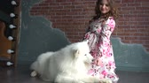 guardian dog : Young pregnant woman in pink dress and her big white dog Stock Footage