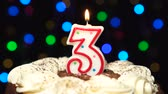 nascimento : Number 3 on top of cake - three birthday candle burning - blow out at the end. Color blurred background