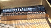 music concert : piano hammers, Mechanic hammers and strings inside old piano, piano hammer mechanism Stock Footage